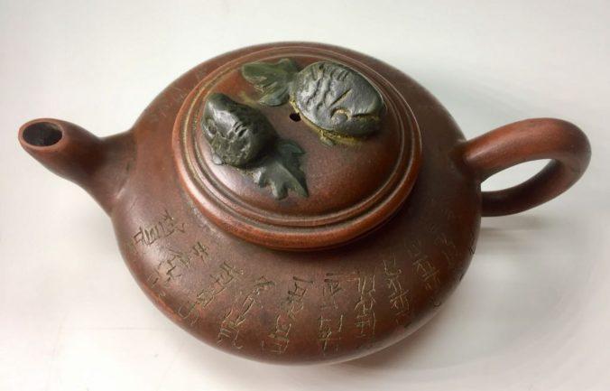 早期 周桂珍 手工雙魚款老紫砂茶壺